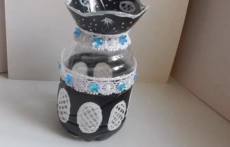 用廢塑料瓶DIY好看的花瓶裝飾