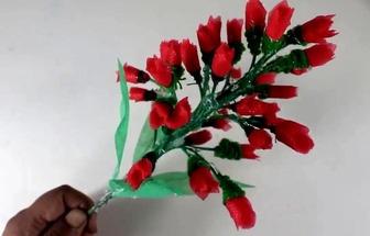利用購物布袋制作好看的花束