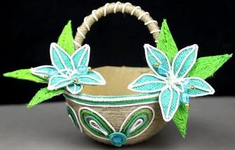 用塑料碗和麻繩絨布DIY好看的籃子