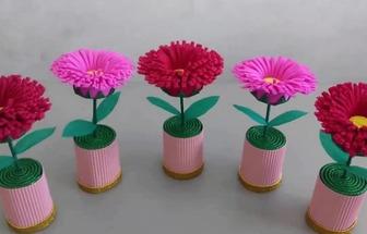 用彩色絨布DIY好看的花藝擺件