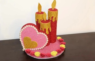 用卷紙筒DIY一個漂亮的愛情燭臺