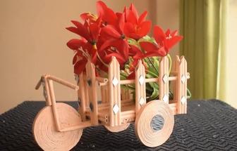 教你用紙棒DIY好看的折紙三輪車
