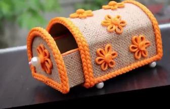 用紙板和麻布制作創意儲物收納盒