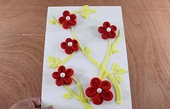 用紙紙板和頭繩做立體裝飾畫