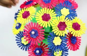 使用棉簽棒子DIY好看的花藝擺件