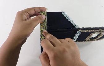 用紙盒和絨布DIY簡單的化妝品儲物籃