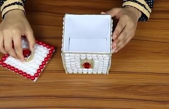 手工制作精美大方亮珠首飾盒