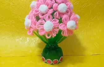 用塑料瓶和羊毛線DIY簡單的花藝擺件