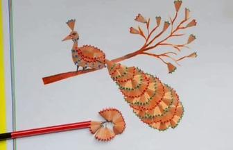 如何利用鉛筆碎做DIY拼貼孔雀圖