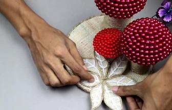 DIY美麗亮珠大蘑菇擺件