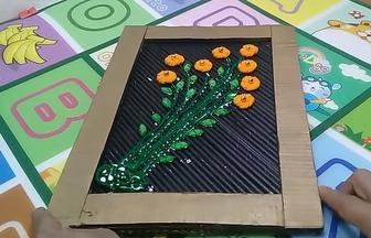 羊毛線DIY漂亮的花草裝飾畫