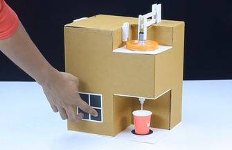 用紙板制作咖啡機過程