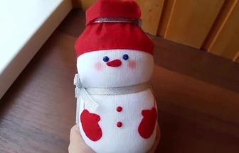 玻璃瓶改造萌萌噠雪人娃娃