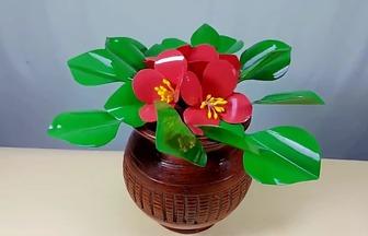 利用塑料瓶做盆栽膠花蟹爪蘭