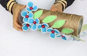 用薯片盒DIY漂亮的儲物花瓶