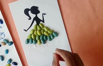 DIY開心果殼背影女孩裝飾畫