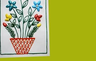 用開心果殼做一副花草裝飾畫
