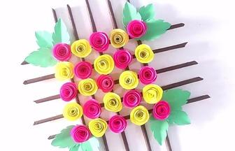 DIY卷紙玫瑰壁掛花飾
