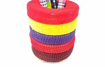用手環圈和發繩DIY簡單的五彩筆筒