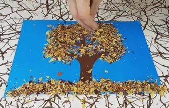 利用廢樹葉DIY大樹拼貼畫