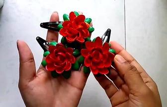 用開心果殼制作好看的玫瑰花發夾