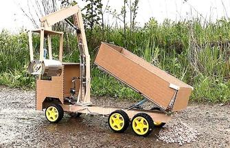 紙板DIY玩具抓斗車