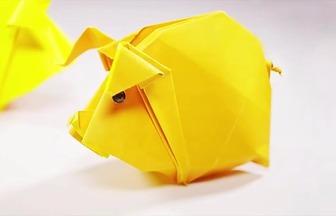 手工折紙做一頭大肥豬
