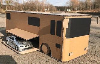 DIY紙板玩具賽車運輸大巴