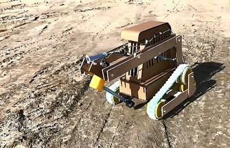 DIY紙板履帶鉆機車玩具模型