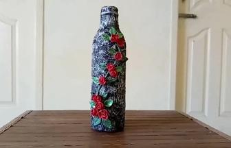 玻璃瓶和橡皮泥做創意工藝品花瓶