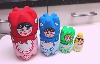 用廢棄飲料瓶DIY做俄羅斯套娃