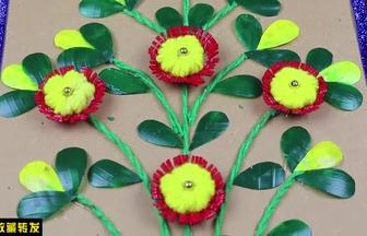 用廢塑料瓶DIY漂亮的花草裝飾畫