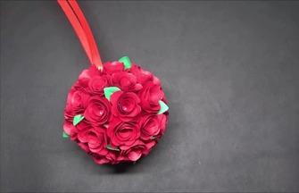 制作少女心爆棚的折紙玫瑰花球