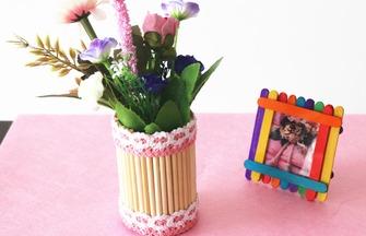 教你用廢筷子自制一個園藝花瓶