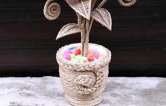 麻繩制作用來制作漂亮的裝飾盆栽