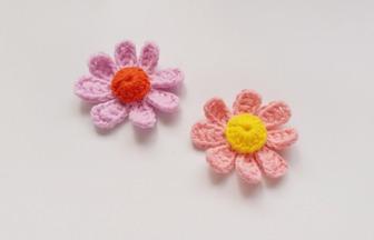 鉤編8個花瓣1個花心的花朵教程