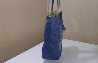 用廢舊牛仔褲制作精美手提包包