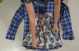 穿舊的格子襯衣給女兒做件漂亮的裙子