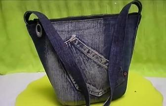 廢棄牛仔褲和塑料瓶DIY漂亮的挎包