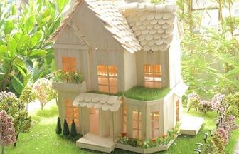 用雪糕棍做一個漂亮的別墅房子