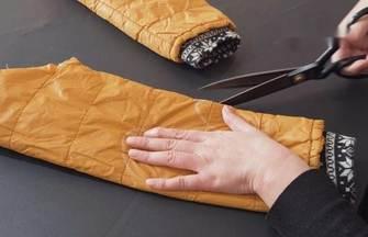 舊棉服袖子拆下剪幾刀,成品老少皆宜