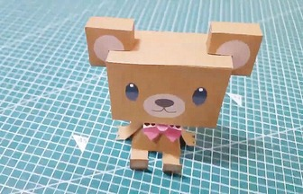 DIY紙藝教程,立體泰迪熊的拼裝方法