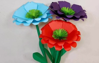 紙藝花朵教程,手工制作虞美人花的方法