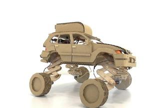 手工紙板DIY,四輪升降玩具車的制作方法